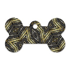 Geometric Tribal Golden Pattern Print Dog Tag Bone (Two Sided)