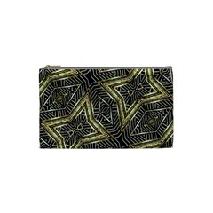 Geometric Tribal Golden Pattern Print Cosmetic Bag (small)