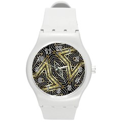Geometric Tribal Golden Pattern Print Plastic Sport Watch (medium)