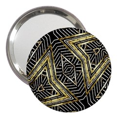 Geometric Tribal Golden Pattern Print 3  Handbag Mirror