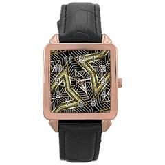 Geometric Tribal Golden Pattern Print Rose Gold Leather Watch