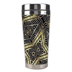 Geometric Tribal Golden Pattern Print Stainless Steel Travel Tumbler