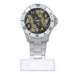 Geometric Tribal Golden Pattern Print Nurses Watch