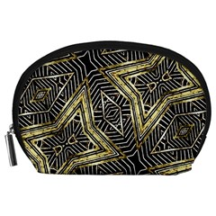 Geometric Tribal Golden Pattern Print Accessory Pouch (Large)