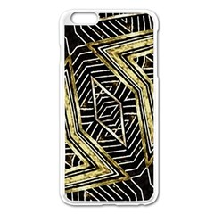 Geometric Tribal Golden Pattern Print Apple Iphone 6 Plus Enamel White Case