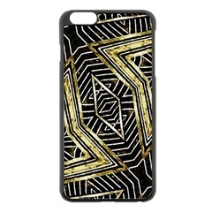 Geometric Tribal Golden Pattern Print Apple iPhone 6 Plus Black Enamel Case