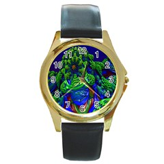 Abstract 1x Round Leather Watch (gold Rim)
