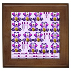 Fms Honey Bear With Spoons Framed Ceramic Tile