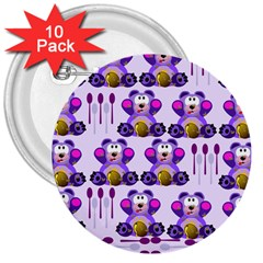 Fms Honey Bear With Spoons 3  Button (10 pack)