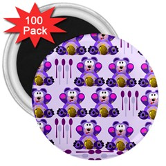 Fms Honey Bear With Spoons 3  Button Magnet (100 Pack)