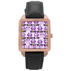 Fms Honey Bear With Spoons Rose Gold Leather Watch