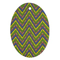 Zig zag pattern Oval Ornament (Two Sides)