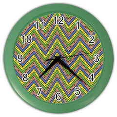 Zig Zag Pattern Color Wall Clock