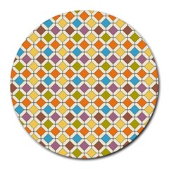 Colorful Rhombus Pattern Round Mousepad