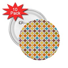 Colorful Rhombus Pattern 2 25  Button (10 Pack)