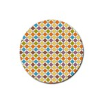 Colorful rhombus pattern Rubber Coaster (Round) Front