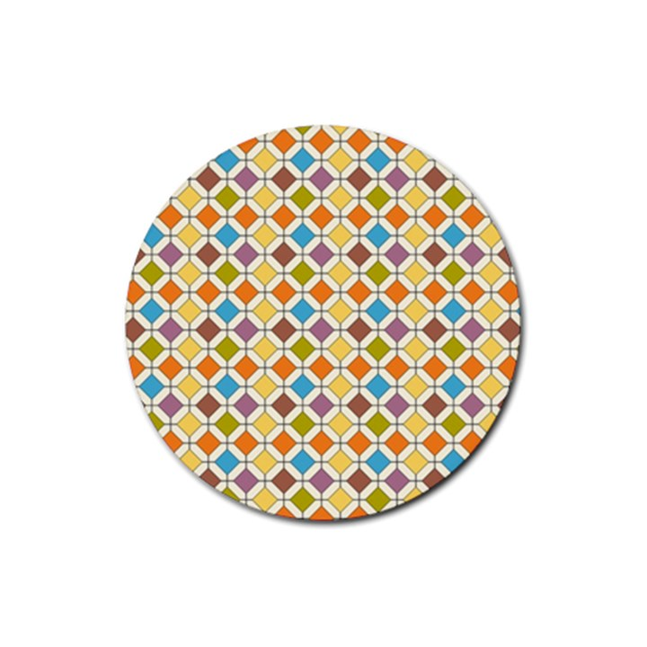 Colorful rhombus pattern Rubber Coaster (Round)