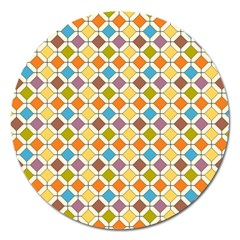 Colorful Rhombus Pattern Magnet 5  (round)