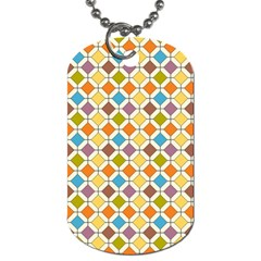 Colorful Rhombus Pattern Dog Tag (two Sides)
