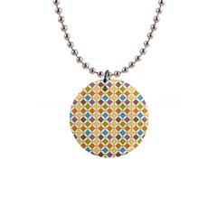 Colorful Rhombus Pattern 1  Button Necklace