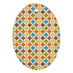 Colorful Rhombus Pattern Oval Ornament (two Sides)