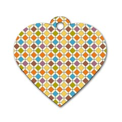 Colorful Rhombus Pattern Dog Tag Heart (two Sides)