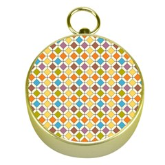 Colorful rhombus pattern Gold Compass