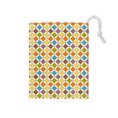 Colorful Rhombus Pattern Drawstring Pouch (medium)
