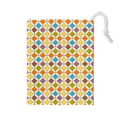 Colorful Rhombus Pattern Drawstring Pouch (large)