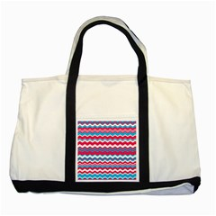 Waves Pattern Two Tone Tote Bag