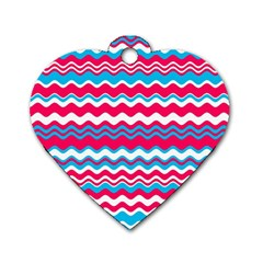 Waves Pattern Dog Tag Heart (two Sides)