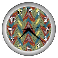 Shapes Pattern Wall Clock (silver)