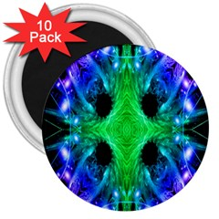 Alien Snowflake 3  Button Magnet (10 Pack)