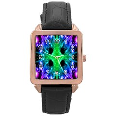 Alien Snowflake Rose Gold Leather Watch