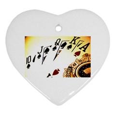 Royal Flush Heart Ornament (Two Sides)