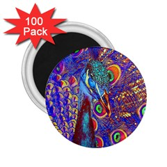 Peacock 2 25  Button Magnet (100 Pack)
