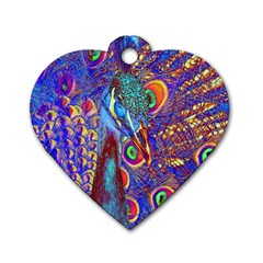Peacock Dog Tag Heart (Two Sided)