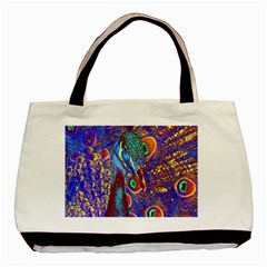 Peacock Twin-sided Black Tote Bag