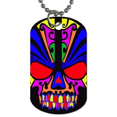 Skull In Colour Dog Tag (two Sided)