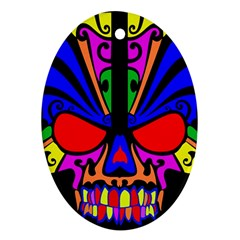 Skull In Colour Oval Ornament (Two Sides)