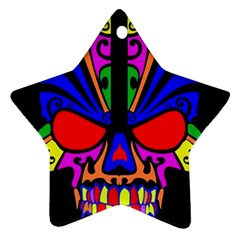 Skull In Colour Star Ornament (Two Sides)