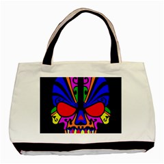 Skull In Colour Twin-sided Black Tote Bag