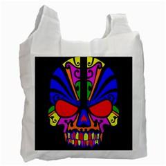 Skull In Colour White Reusable Bag (one Side)