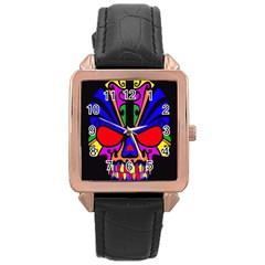 Skull In Colour Rose Gold Leather Watch