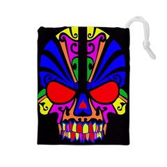 Skull In Colour Drawstring Pouch (Large)