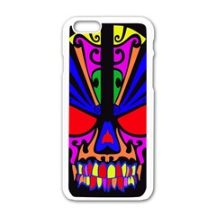 Skull In Colour Apple Iphone 6 White Enamel Case