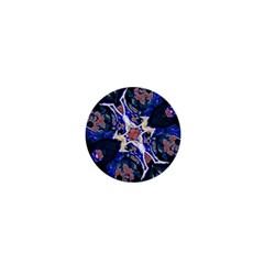Decorative Retro Floral Print 1  Mini Button Magnet