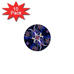 Decorative Retro Floral Print 1  Mini Button (10 Pack)