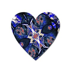 Decorative Retro Floral Print Magnet (Heart)
