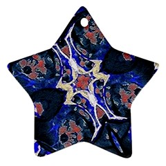 Decorative Retro Floral Print Star Ornament (two Sides)